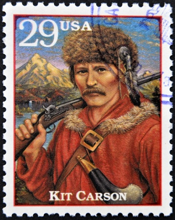 UNITED STATES OF AMERICA - CIRCA 1994 : Stamp printed in  USA shows Christopher Houston Kit Carson, circa 1994