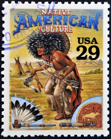 UNITED STATES OF AMERICA - CIRCA 1994   Stamp printed in USA shows Native American culture in the American Old West, circa 1994  photo