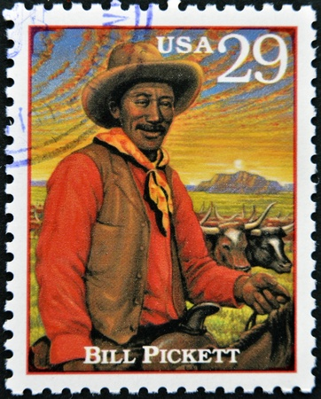 show bill: ESTADOS UNIDOS DE AM�RICA - CIRCA 1994: Sello impreso en los EE.UU. el programa de Bill Pickett, prominente l�der nativo americano y la medicina el hombre de los Apaches Chiricahua, alrededor de 1994