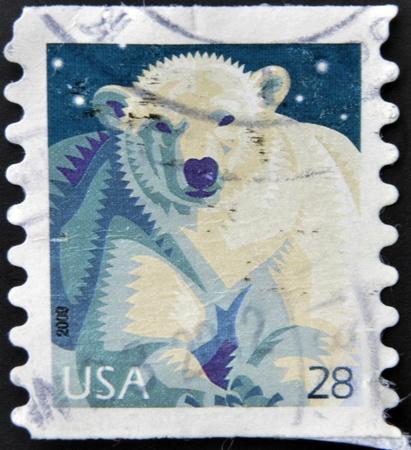 UNITED STATES OF AMERICA - CIRCA 2009: A stamp printed in USA shows Polar Bear (Ursus maritimus), circa 2009 Stock Photo - 13285423