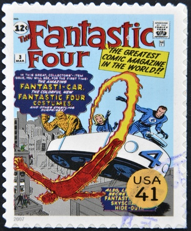 four poster: UNITED STATES OF AMERICA - CIRCA 2007: stamp printed in USA shows Fantastic Four, circa 2007  Editorial