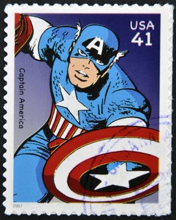postmark: UNITED STATES OF AMERICA - CIRCA 2007: Briefmarke in den USA gedruckt zeigt Captain America, circa 2007
