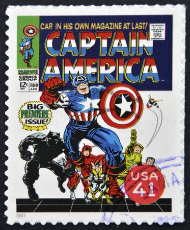 marvel: UNITED STATES OF AMERICA - CIRCA 2007: stamp printed in USA shows Captain America, circa 2007  Editorial