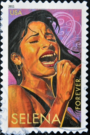 UNITED STATES OF AMERICA - CIRCA 2011: A stamp printed in USA shows Selena, circa 2011 Stock Photo - 13289169