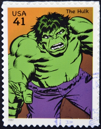 marvel: UNITED STATES OF AMERICA - CIRCA 2007: stamp printed in USA shows Hulk, circa 2007  Editorial