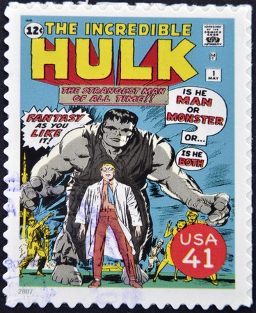 UNITED STATES OF AMERICA - CIRCA 2007: stamp printed in USA shows Hulk, circa 2007