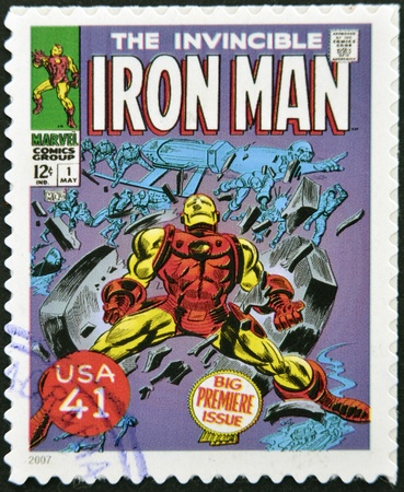 marvel: UNITED STATES OF AMERICA - CIRCA 2007: stamp printed in USA shows Iron Man, circa 2007
