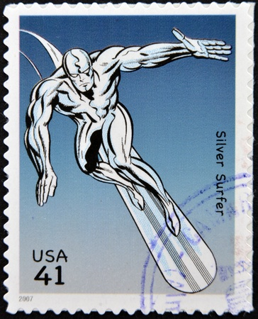 UNITED STATES OF AMERICA - CIRCA 2007: stamp printed in USA shows Silver Surfer, circa 2007  Stock Photo - 13289458