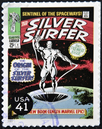 silver surfer: UNITED STATES OF AMERICA - CIRCA 2007: stamp printed in USA shows Silver Surfer, circa 2007