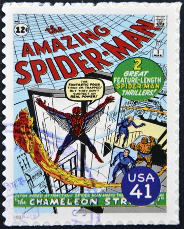 spiderman: UNITED STATES OF AMERICA - CIRCA 2007: stamp printed in USA shows Spider-man, circa 2007  Editorial