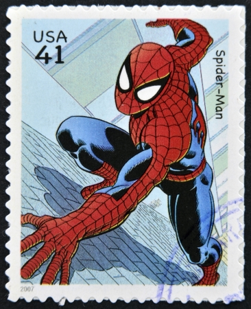 marvel: UNITED STATES OF AMERICA - CIRCA 2007: stamp printed in USA shows Spider-man, circa 2007  Editorial