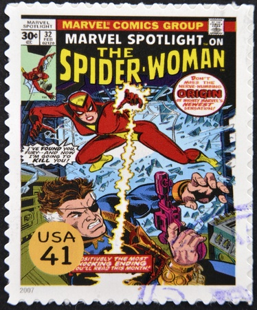 UNITED STATES OF AMERICA - CIRCA 2007: stamp printed in USA shows Spider-Woman, circa 2007
