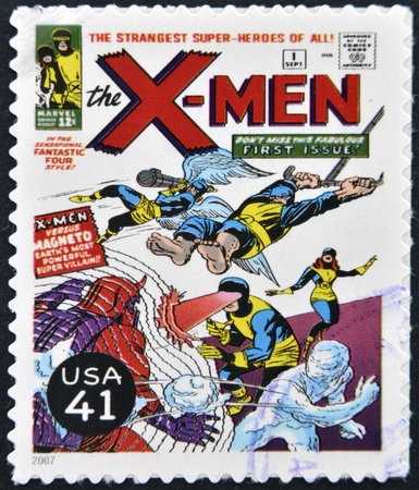 marvel: UNITED STATES OF AMERICA - CIRCA 2007: A stamp printed in USA shows X-Men, circa 2007