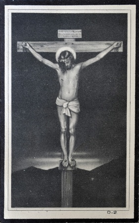 velazquez: SPAIN - CIRCA 1968: A postcard printed in Spain shows Christ Crucified by Diego Velazquez, circa 1968