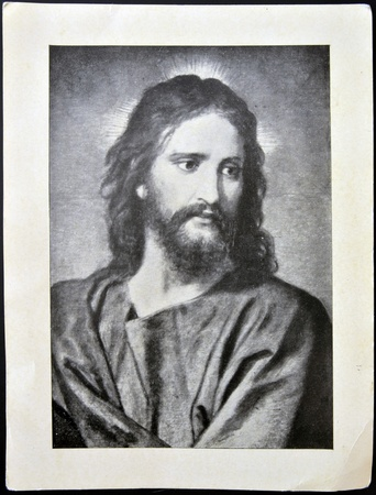 jesus face: SPAIN - CIRCA 1950: A postcard printed in Spain shows face of Jesus Christ, circa 1950