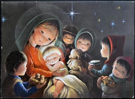 ESPAÑA - CIRCA 1958: Una tarjeta de Navidad impresas en España muestra un grupo de niños que traen regalos a Jesús, alrededor del año 1958