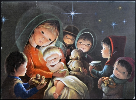 SPAIN - CIRCA 1958: A Christmas card printed in Spain shows group of children bringing gifts to Jesus, circa 1958