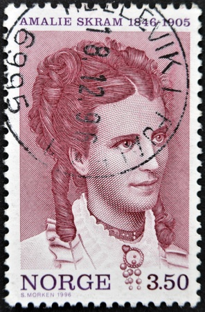 NORWAY - CIRCA 1996: A stamp printed in Norway shows Amalie Skram, circa 1996