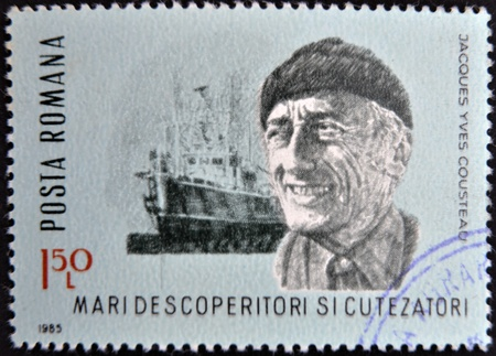 ROMANIA - CIRCA 1985: stamp printed in Romania, show Jacques Yves Cousteau, research vessel Calypso, circa 1985.