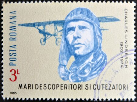 ROMANIA - CIRCA 1985: stamp printed in Romania show Charles Lindbergh, Spirit of St. Louis, circa 1985.