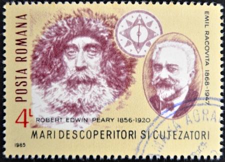 speleology: ROMANIA - CIRCA 1985: A stamp printed in Romania shows Robert Edwin Peary and Emil Racovita, circa 1985