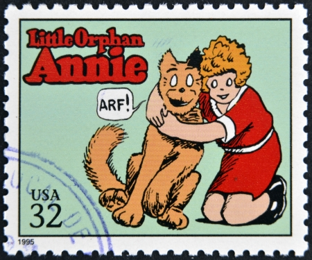 annie: UNITED STATES OF AMERICA - CIRCA 1995: A stamp printed in USA dedicated to comic strip classics, shows Little Orphan Annie, circa 1995