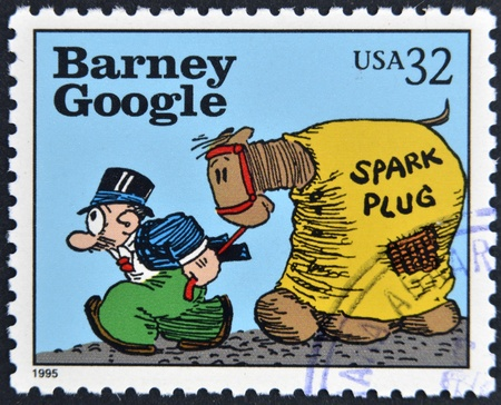 UNITED STATES OF AMERICA - CIRCA 1995: A stamp printed in USA dedicated to comic strip classics, shows Barney Google, circa 1995