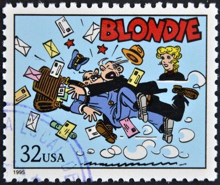 blondie: UNITED STATES OF AMERICA - CIRCA 1995: A stamp printed in USA dedicated to comic strip classics, shows Blondie, circa 1995