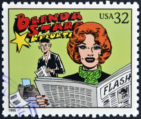UNITED STATES OF AMERICA - CIRCA 1995: A stamp printed in USA dedicated to comic strip classics, shows Brenda Starr, Reporter, circa 1995