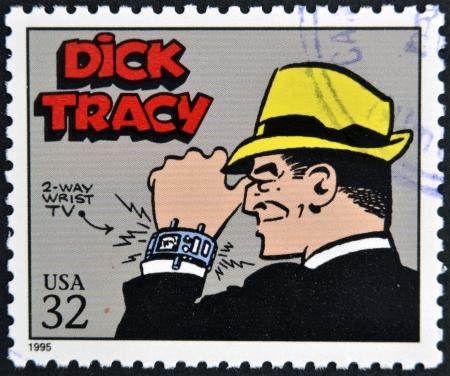 アメリカ合衆国 - 1995年年頃: 専用の続きこま漫画の古典に米国で印刷されたスタンプは 1995 年までディック ・ トレーシーを示しています 報道画像
