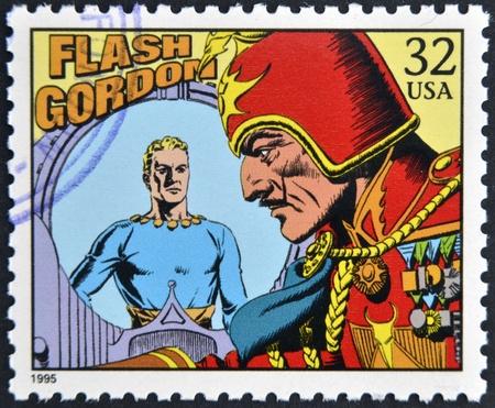 アメリカ合衆国 - 1995年年頃: 専用の続きこま漫画の古典に米国で印刷されたスタンプ 1995年年頃フラッシュ ・ ゴードンを示しています