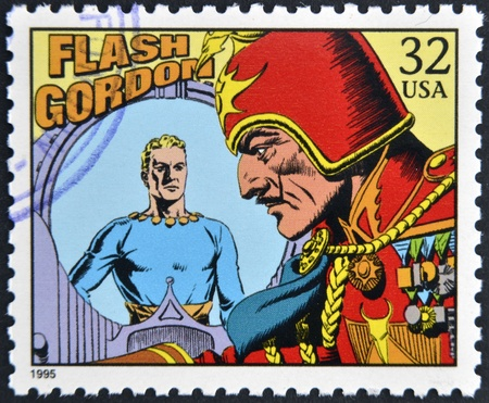 UNITED STATES OF AMERICA - CIRCA 1995: A stamp printed in USA dedicated to comic strip classics, shows Flash Gordon, circa 1995  Editorial