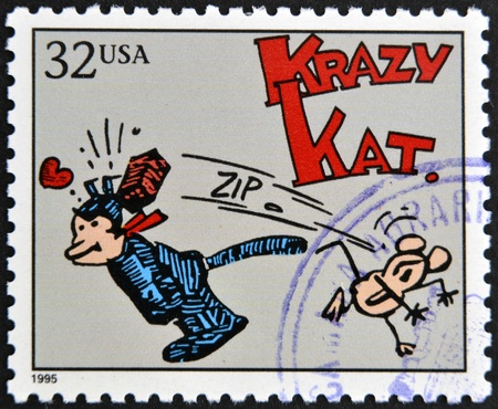 UNITED STATES OF AMERICA - CIRCA 1995: A stamp printed in USA dedicated to comic strip classics, shows Krazy Kat, circa 1995
