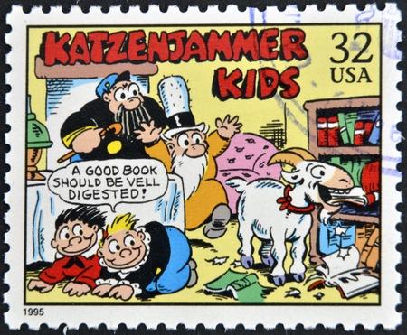 inspector kid: UNITED STATES OF AMERICA - CIRCA 1995: A stamp printed in USA dedicated to comic strip classics, shows katzenjammer kids, circa 1995