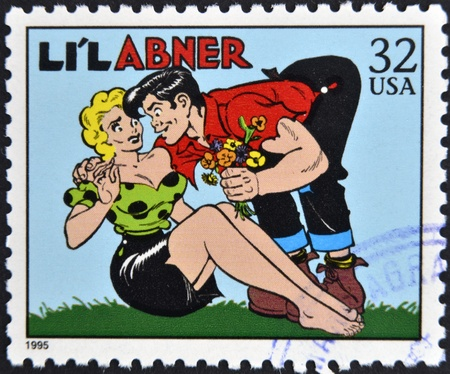 UNITED STATES OF AMERICA - CIRCA 1995: A stamp printed in USA dedicated to comic strip classics, shows Lil Abner, circa 1995