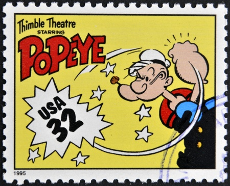 UNITED STATES OF AMERICA - CIRCA 1995: A stamp printed in USA dedicated to comic strip classics, shows Popeye, circa 1995  Editorial
