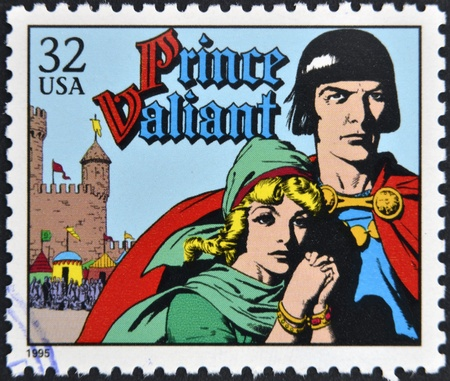 UNITED STATES OF AMERICA - CIRCA 1995: A stamp printed in USA dedicated to comic strip classics, shows Prince Valiant, circa 1995