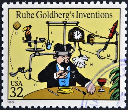UNITED STATES OF AMERICA - CIRCA 1995: A stamp printed in USA dedicated to comic strip classics, shows Rube Goldbergs Inventions, circa 1995