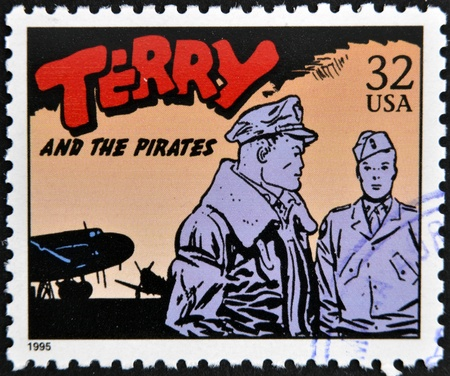 UNITED STATES OF AMERICA - CIRCA 1995: A stamp printed in USA dedicated to comic strip classics, shows Terry and the pirates, circa 1995  Stock Photo - 13323020