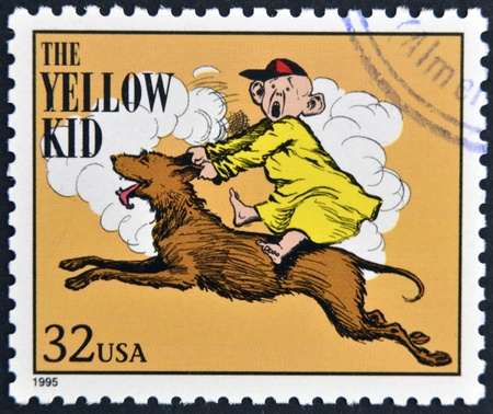 UNITED STATES OF AMERICA - CIRCA 1995: A stamp printed in USA dedicated to comic strip classics, shows the yellow kid, circa 1995  Stock Photo - 13322978