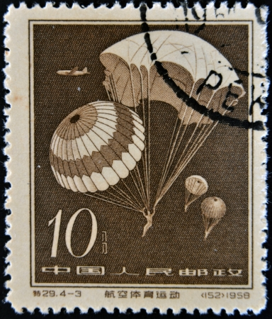 CHINA - CIRCA 1958: A stamp printed in china shows Parachute jump, circa 1958 photo