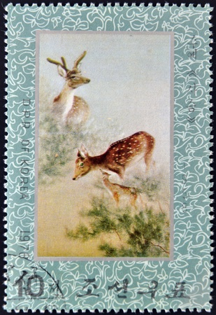 NORTH KOREA - CIRCA 1976: A stamp printed in North Korea shows family of deer, circa 1976 Stock Photo - 13749375