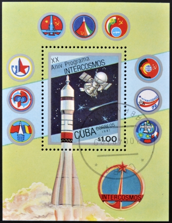 CUBA - CIRCA 1987: stamp printed in Cuba, shows Soviet space program Intercosmos, circa 1987.  photo