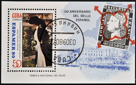 walk of fame: CUBA - CIRCA 1980: A stamp honoring 130 years of spanish stamp shows Spanish factory of stamps, paint of artist Joaquin Sorolla,Clotilde walking in the gardens of the farm, circa 1980  Stock Photo