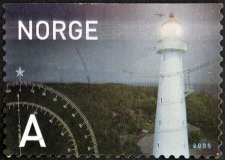 NORWAY - CIRCA 2005: A stamp printed in Norway shows a lighthouse, circa 2005 Stock Photo - 13749293