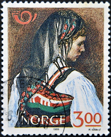 NORWAY - CIRCA 1989: A stamp printed in Norway dedicated to costumes, circa 1989 Stock Photo - 13749373
