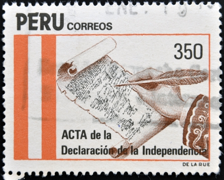 PERU - CIRCA 1971: A stamp printed in Peru shows The minutes of the declaration of independence, circa 1971  Stock Photo - 13749274