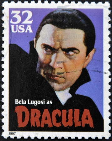 vampire teeth: UNITED STATES OF AMERICA - CIRCA 1997: A stamp printed in USA shows Bela Lugosi as Dracula, circa 1997 Stock Photo