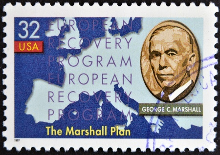 UNITED STATES OF AMERICA - CIRCA 1997 : stamp printed in USA show shows George Marshall, circa 1997  photo
