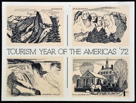 niagara falls city: UNITED STATES OF AMERICA - CIRCA 1972: American postal dedicated to tourism year of the Americas, 1972